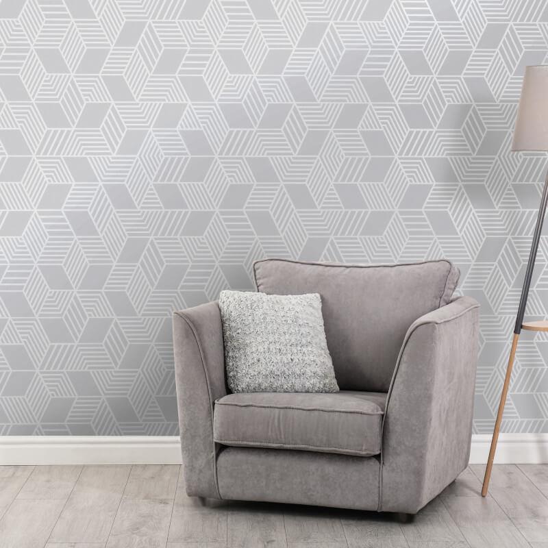 Geometric-Wallpaper-Metallic-Smooth-Textured-Apex-Triangles-Trellis-Diamonds thumbnail 41