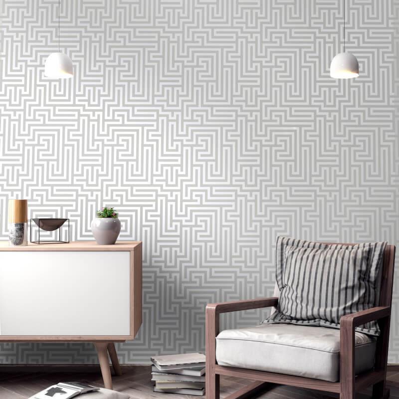 Holden-Decor-Glistening-Maze-Metallic-Wallpaper-5-Colours thumbnail 3
