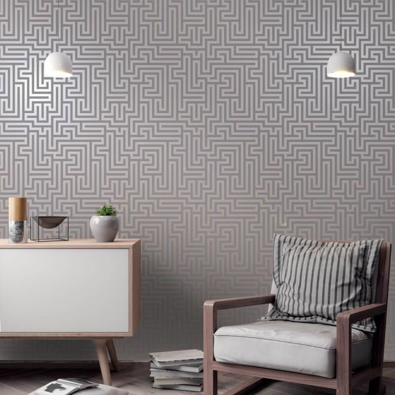 Holden-Decor-Glistening-Maze-Metallic-Wallpaper-5-Colours thumbnail 11