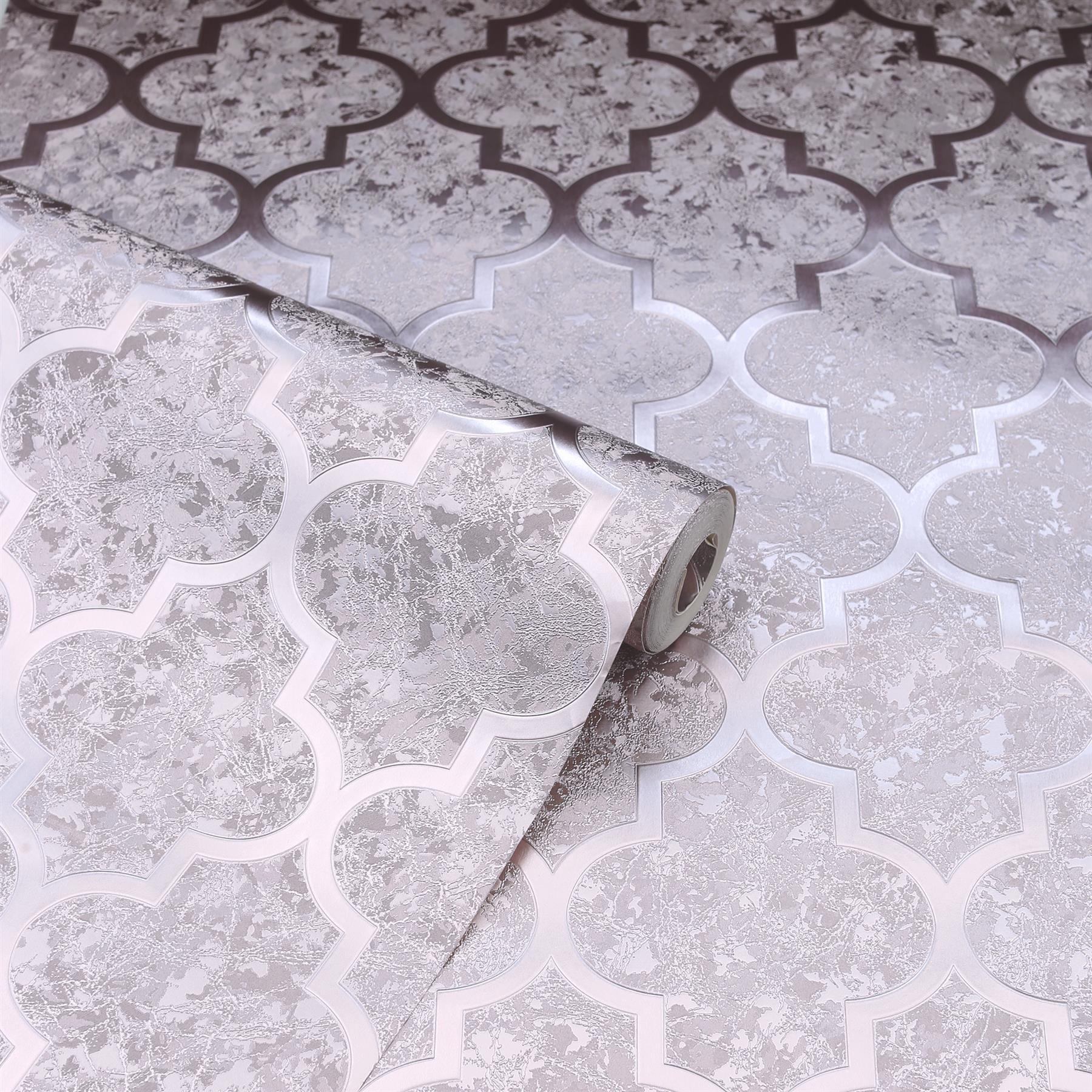 thumbnail 7 - Arthouse Luxury Foil Velvet Trellis Geometric Textured Wallpaper 4 Colours 10m