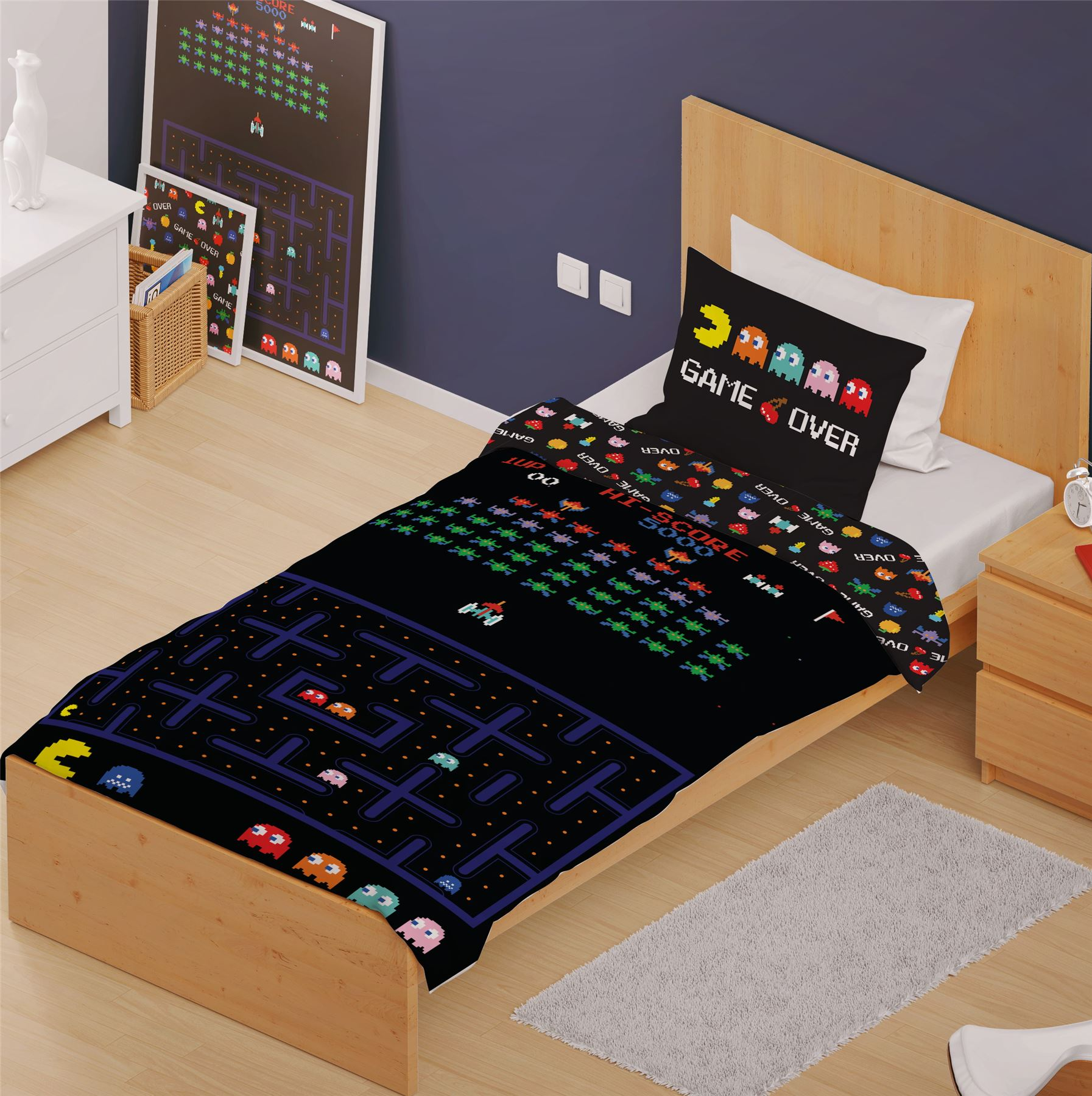 Classic-Retro-Games-Single-Double-Reversible-Duvet-Cover-Space-Invaders-Pac-man