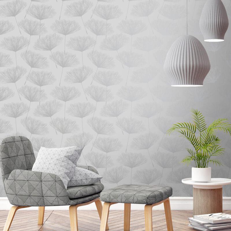 Holden-Decor-Grey-Glistening-Metallic-Fleur-Dandelion-Flower-Wallpaper-10m thumbnail 3