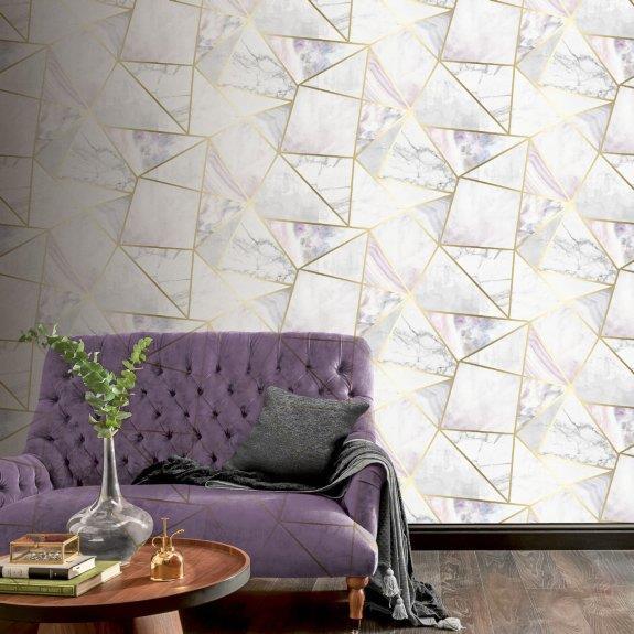 Geometric-Wallpaper-Metallic-Smooth-Textured-Apex-Triangles-Trellis-Diamonds thumbnail 15
