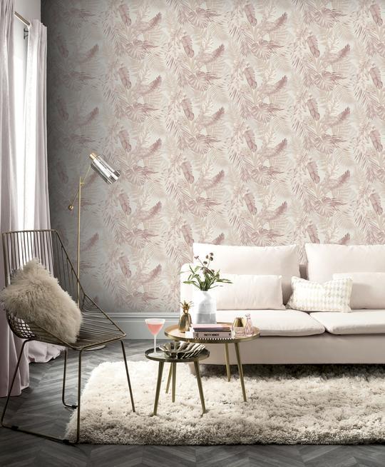 Arthouse-Soft-Tropical-Palm-Leaves-Vinyl-Textured-Wallpaper-10m-Rolls thumbnail 3