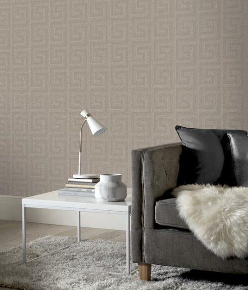 Arthouse-Greek-Key-Luxury-Foil-Shimmer-Metallic-Textured-Wallpaper thumbnail 3
