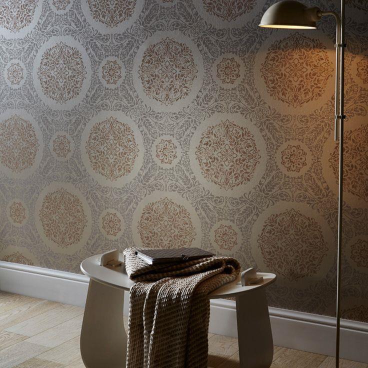 Arthouse-Timour-Damask-Pattern-Floral-Motif-Metallic-Glitter-Wallpaper-2-Colours thumbnail 5