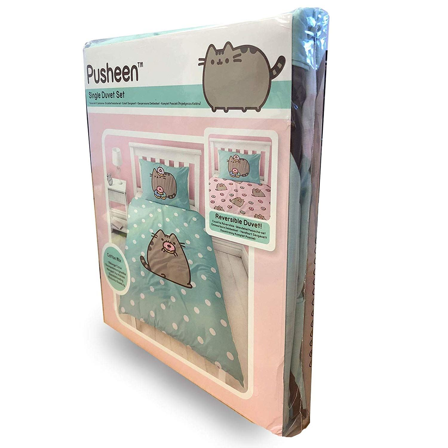 Pusheen-Doughnut-Single-Double-Reversible-Duvet-Cover-Bedding-Set thumbnail 9