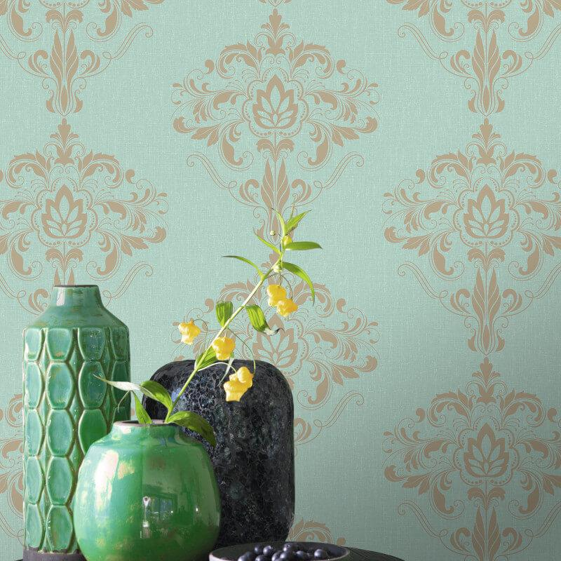 Marlow Damask Wallpaper Yellow Gold Metallic Shimmer Floral Ornamental Rasch
