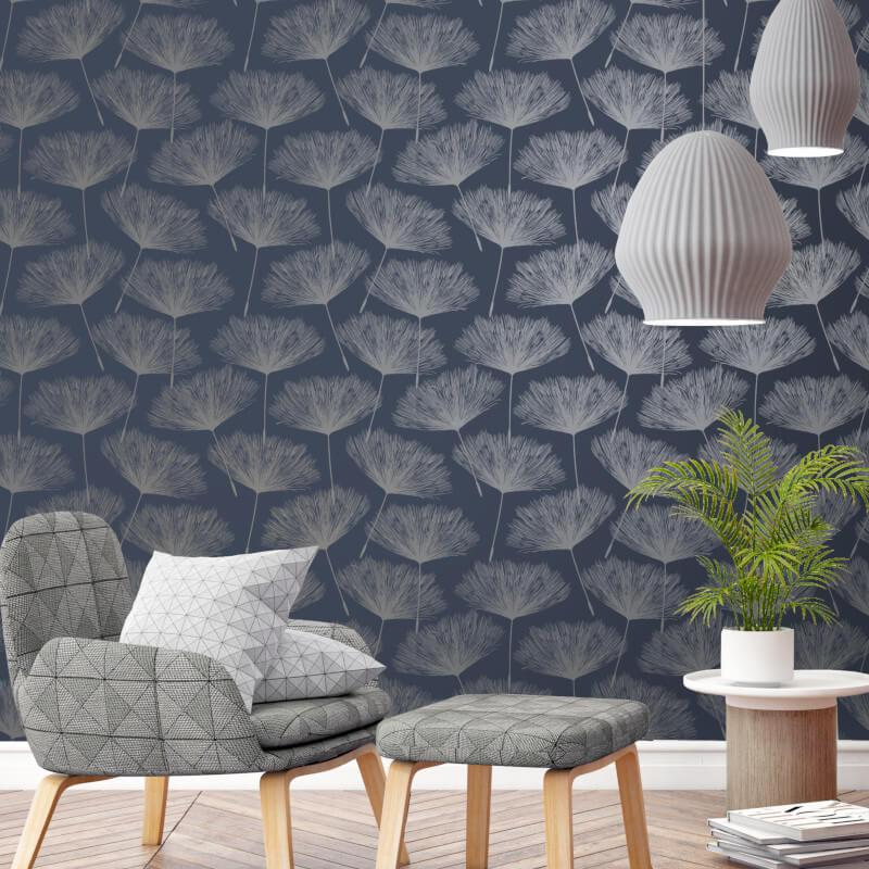 Holden-Decor-Grey-Glistening-Metallic-Fleur-Dandelion-Flower-Wallpaper-10m thumbnail 7