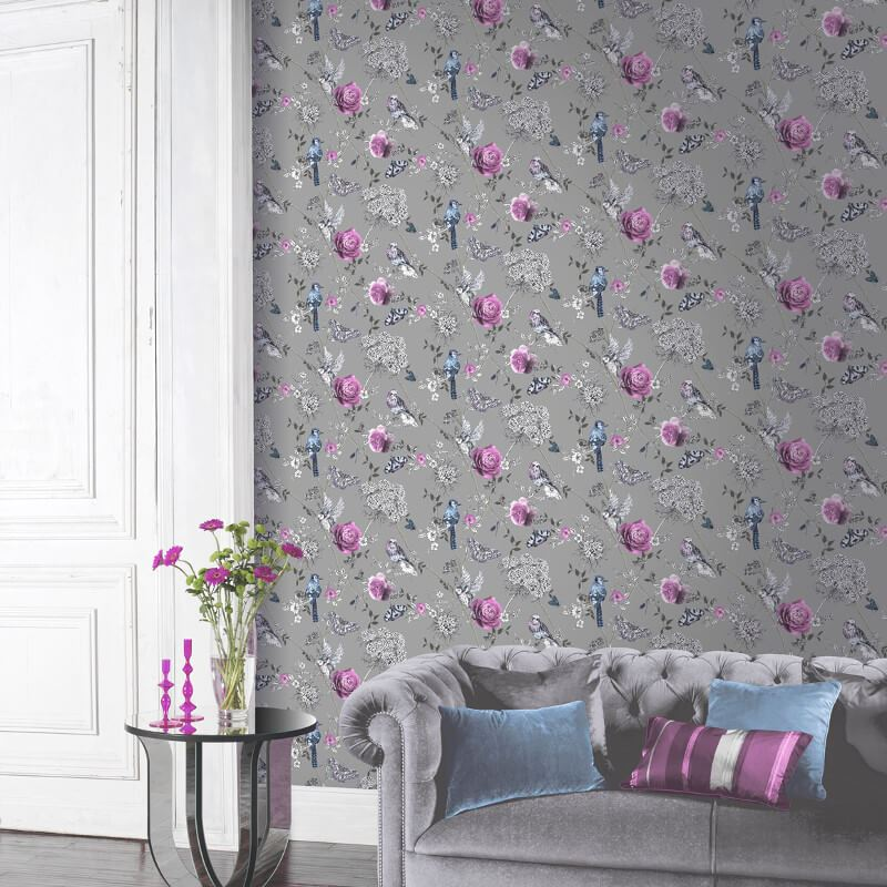 thumbnail 9 - Arthouse-Paradise-Garden-Butterflies-Floral-Glitter-10m-Wallpaper-5-Colours