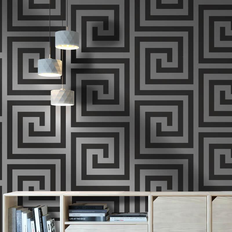 Debona-Athena-Greek-Key-Metallic-Glitter-Wallpaper-4-Colours thumbnail 3