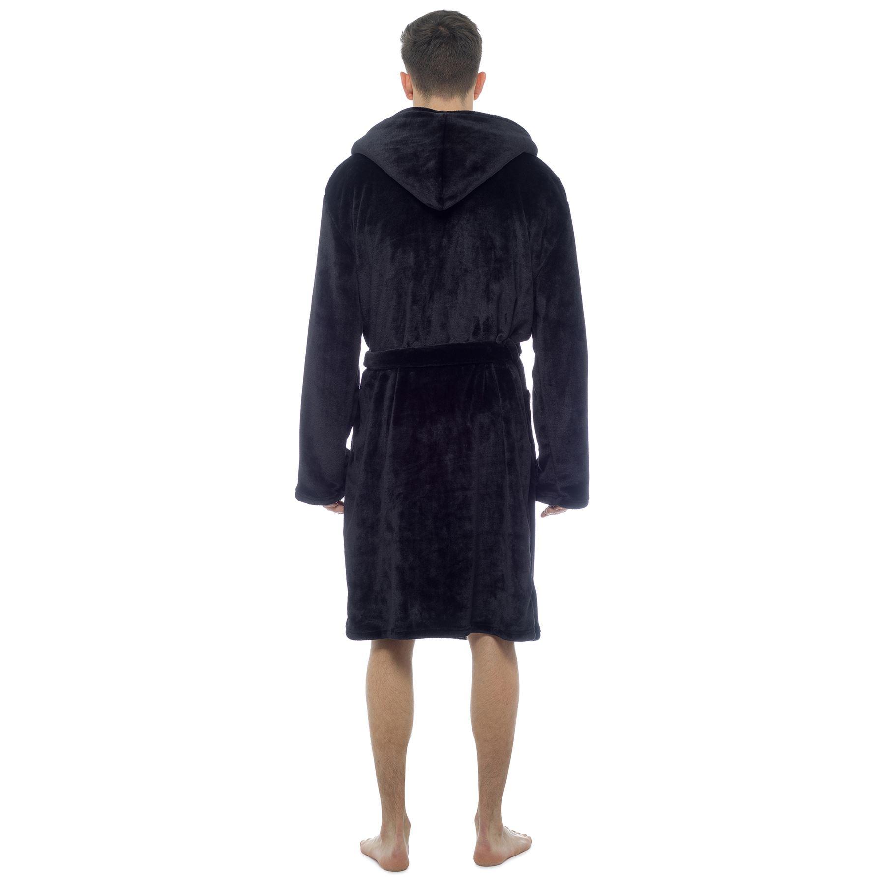 Mens luxury Hooded Shimmer Soft Fleece Dressing Gown Bathrobe ... ab3ef91ee