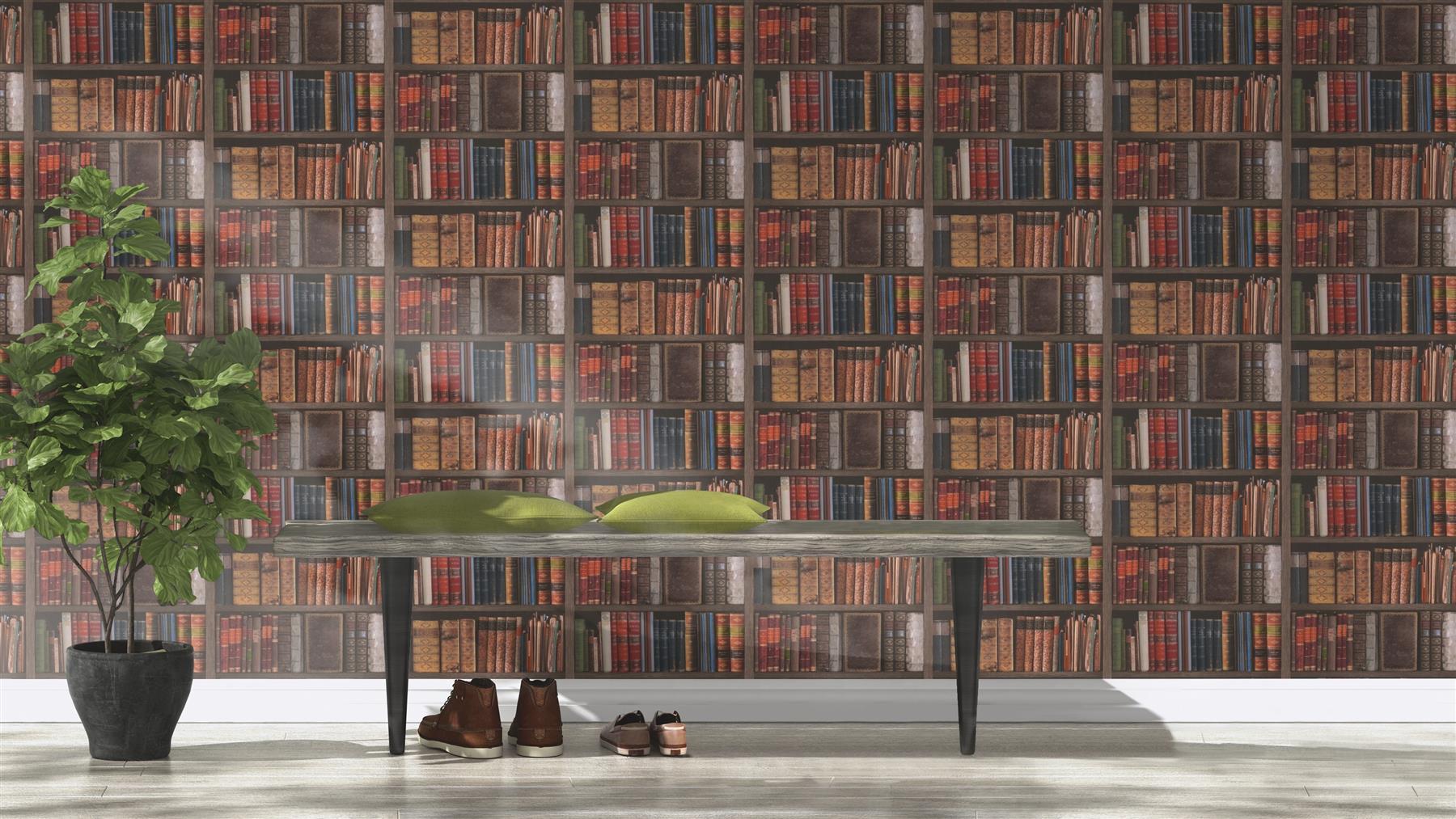 Rasch-Luxury-Library-Bookcase-Vintage-Bookshelf-10m-Wallpaper-2-Colours thumbnail 5