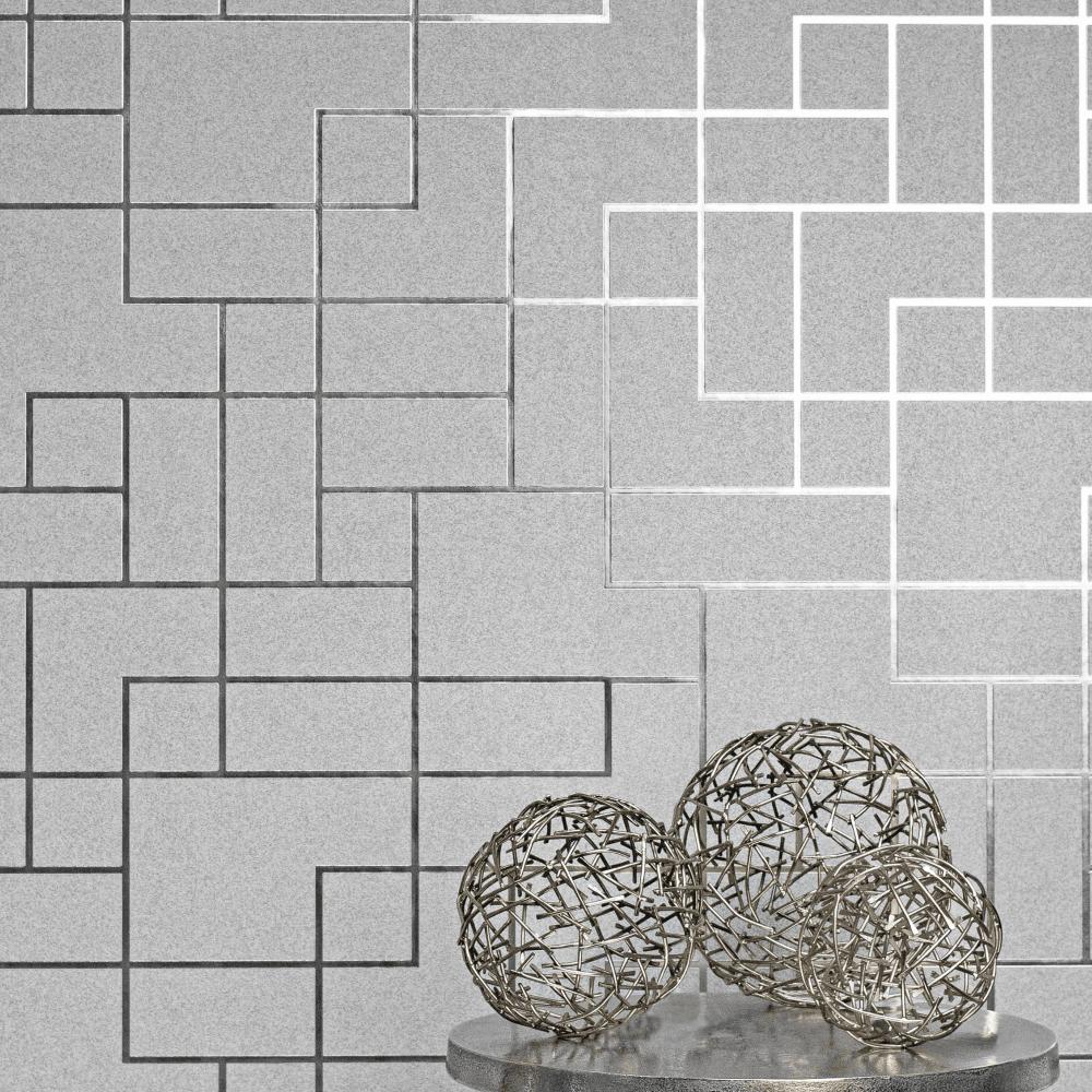 Geometric-Wallpaper-Metallic-Smooth-Textured-Apex-Triangles-Trellis-Diamonds thumbnail 39