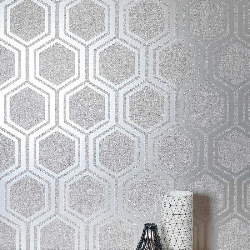 Arthouse-Luxe-Damask-Hexagan-Ogee-Geo-Metallic-Wallpaper-3-Colours thumbnail 13