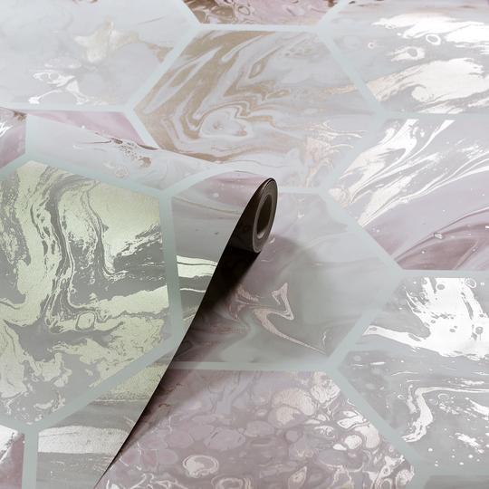 Arthouse-Marbled-Hex-Metallic-Geometric-Wallpaper-2-Colours-10m-Rolls thumbnail 7