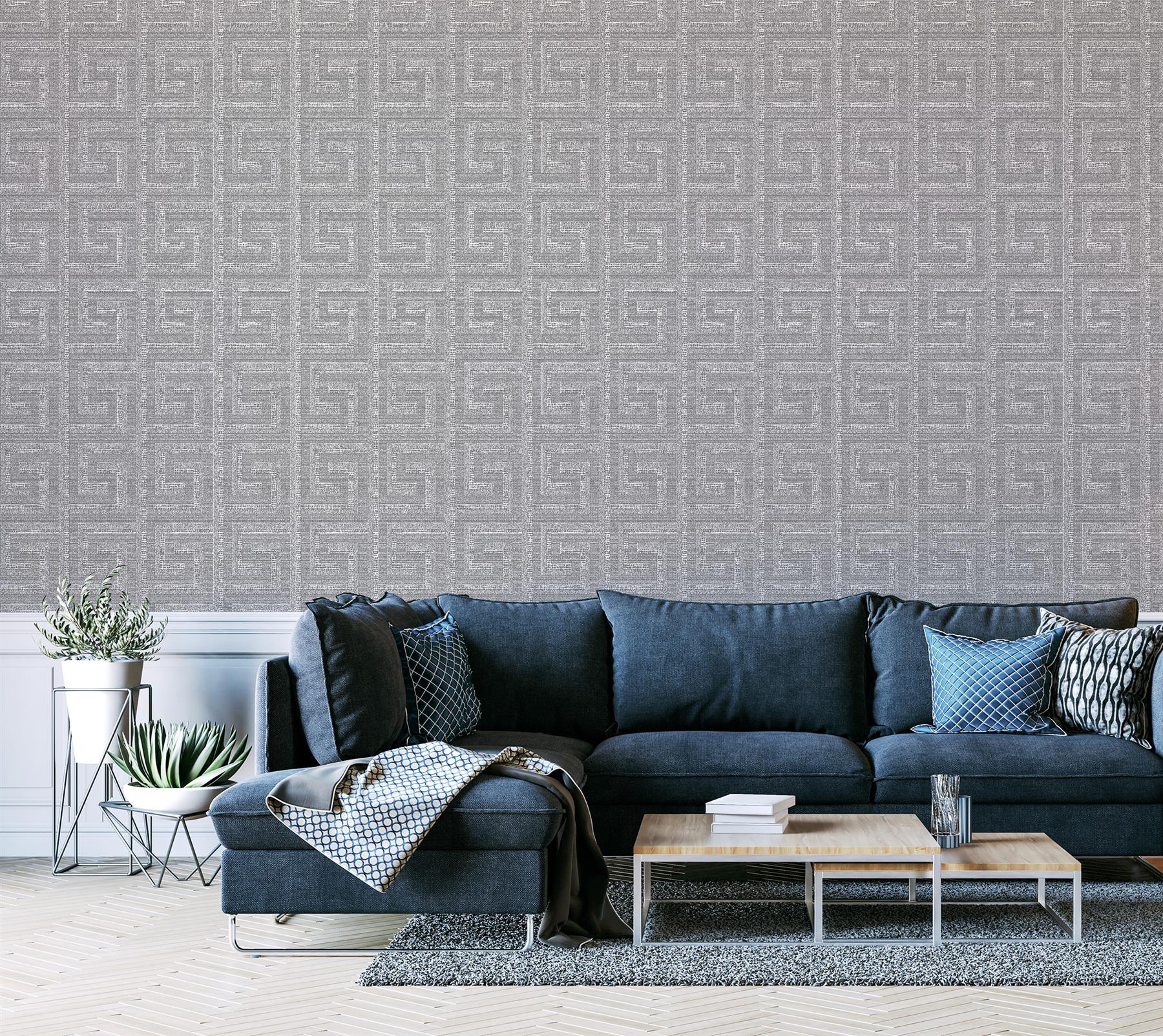 Arthouse-Greek-Key-Luxury-Foil-Shimmer-Metallic-Textured-Wallpaper thumbnail 5