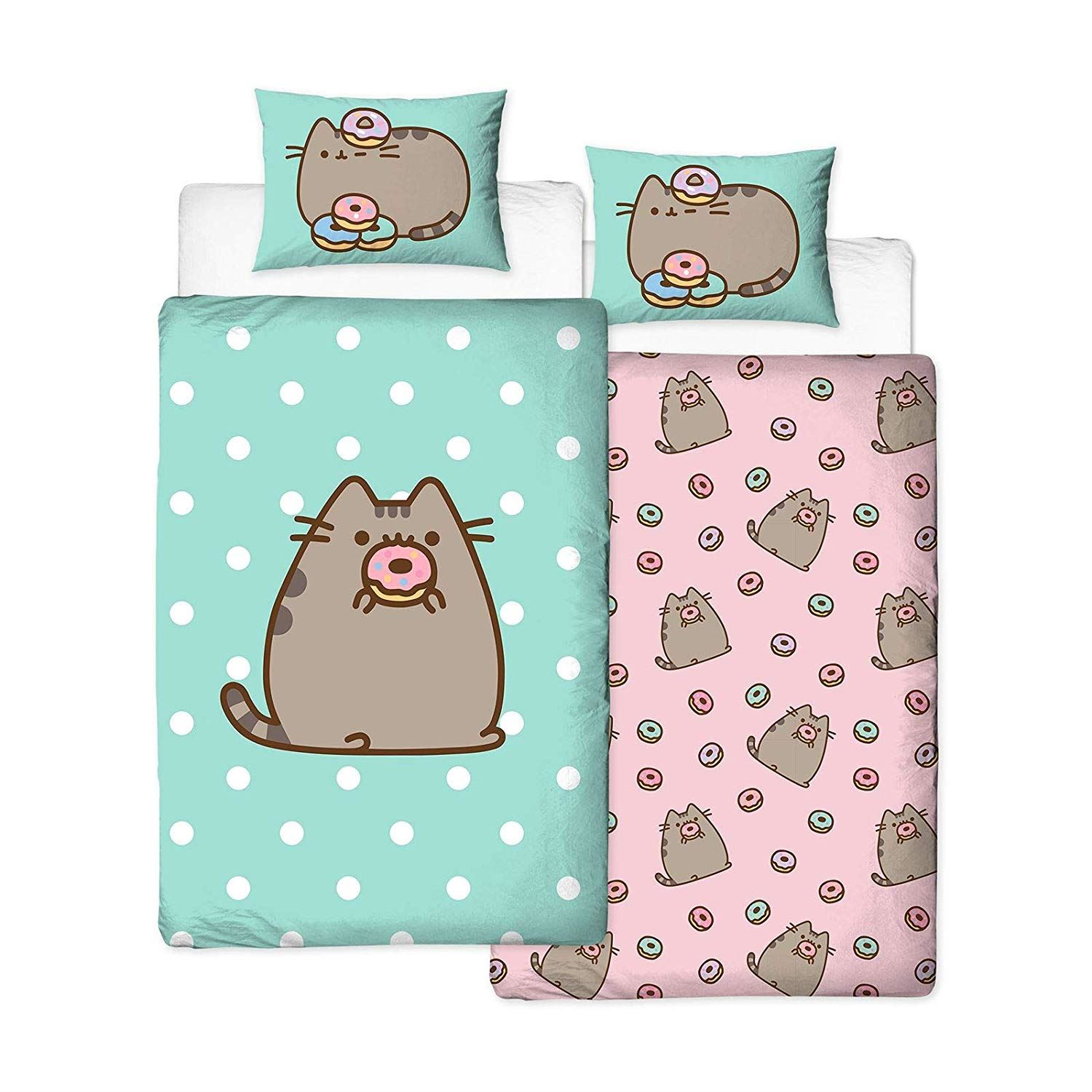 Pusheen-Doughnut-Single-Double-Reversible-Duvet-Cover-Bedding-Set thumbnail 8