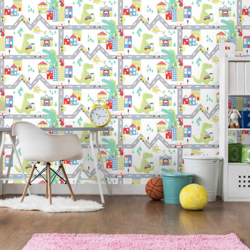 Kids-Nursery-Fun-Dinosaur-wallpaper-Dino-Town-Doodles-Dictionary-Road thumbnail 15