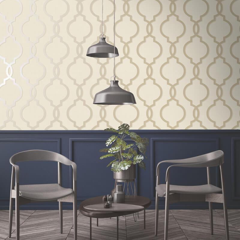 Geometric-Wallpaper-Metallic-Smooth-Textured-Apex-Triangles-Trellis-Diamonds thumbnail 66