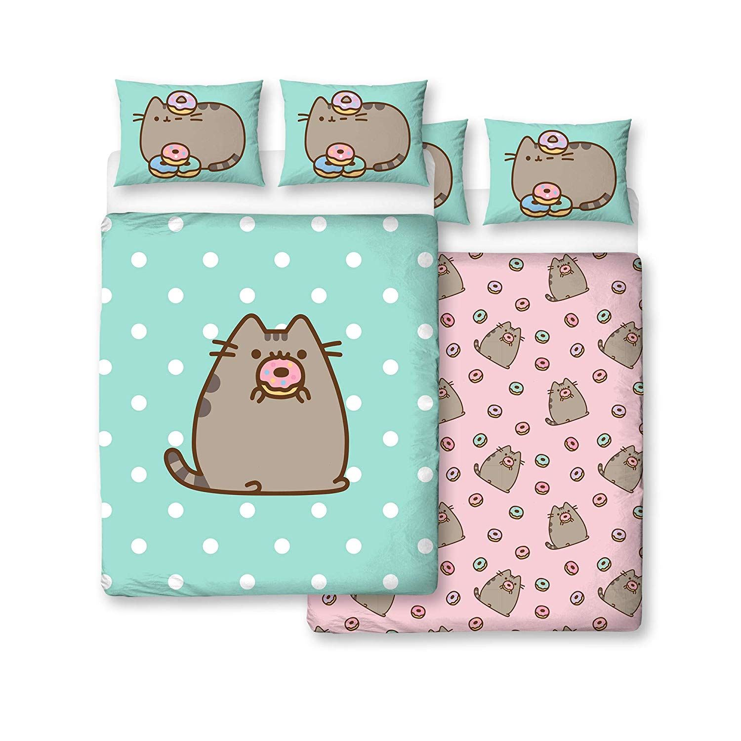 Pusheen-Doughnut-Single-Double-Reversible-Duvet-Cover-Bedding-Set thumbnail 4