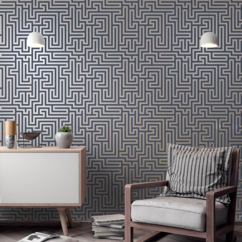 Holden-Decor-Glistening-Maze-Metallic-Wallpaper-5-Colours thumbnail 9