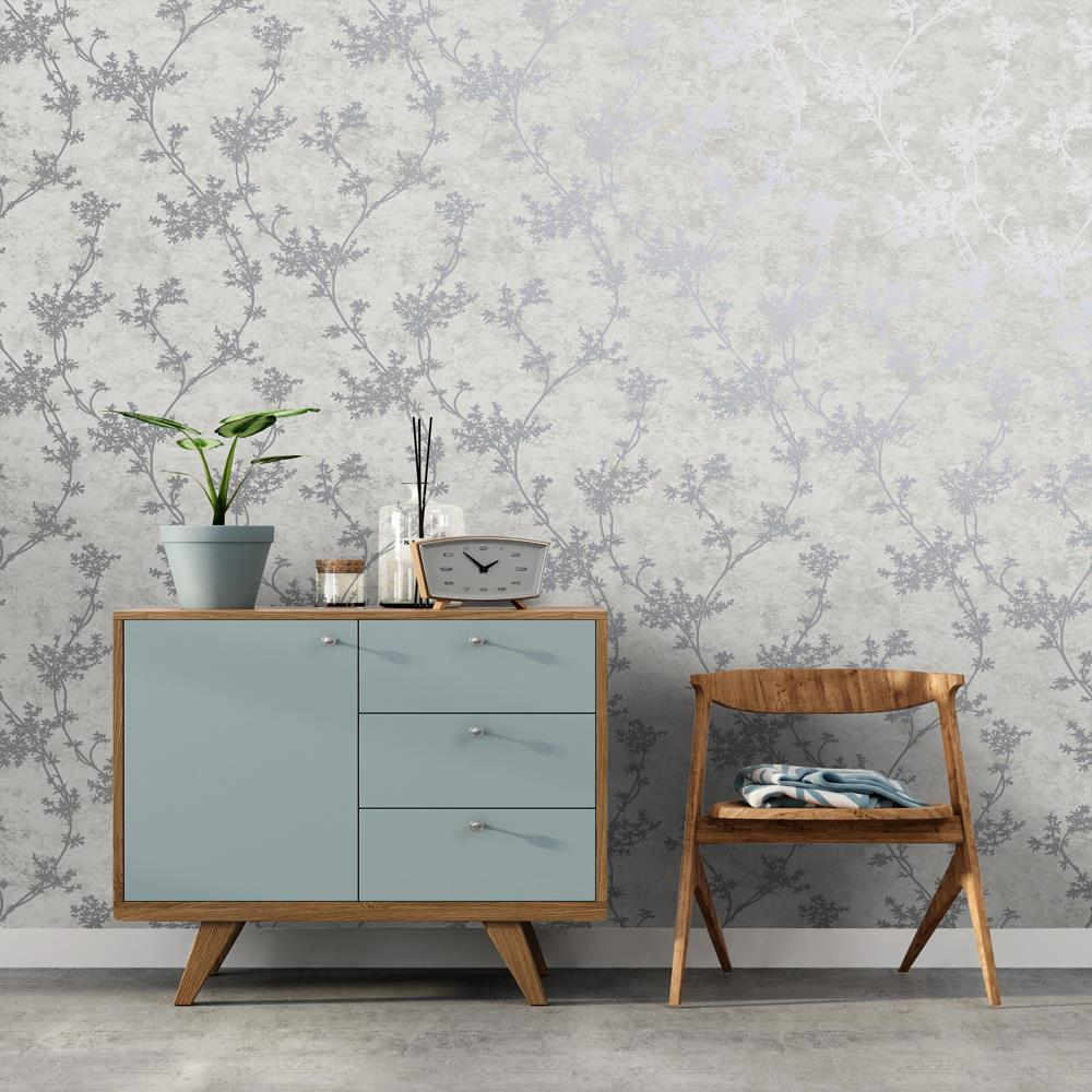 thumbnail 7 - Holden Decor Chevril Shinny Floral Trail Textured Wallpaper 3 Colours
