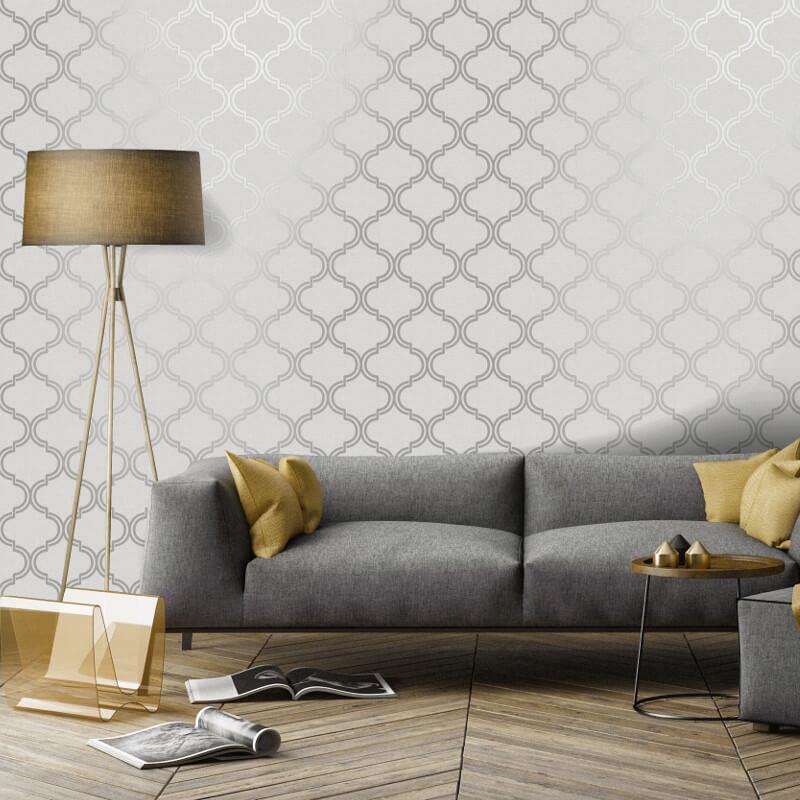 Geometric-Wallpaper-Metallic-Smooth-Textured-Apex-Triangles-Trellis-Diamonds thumbnail 45