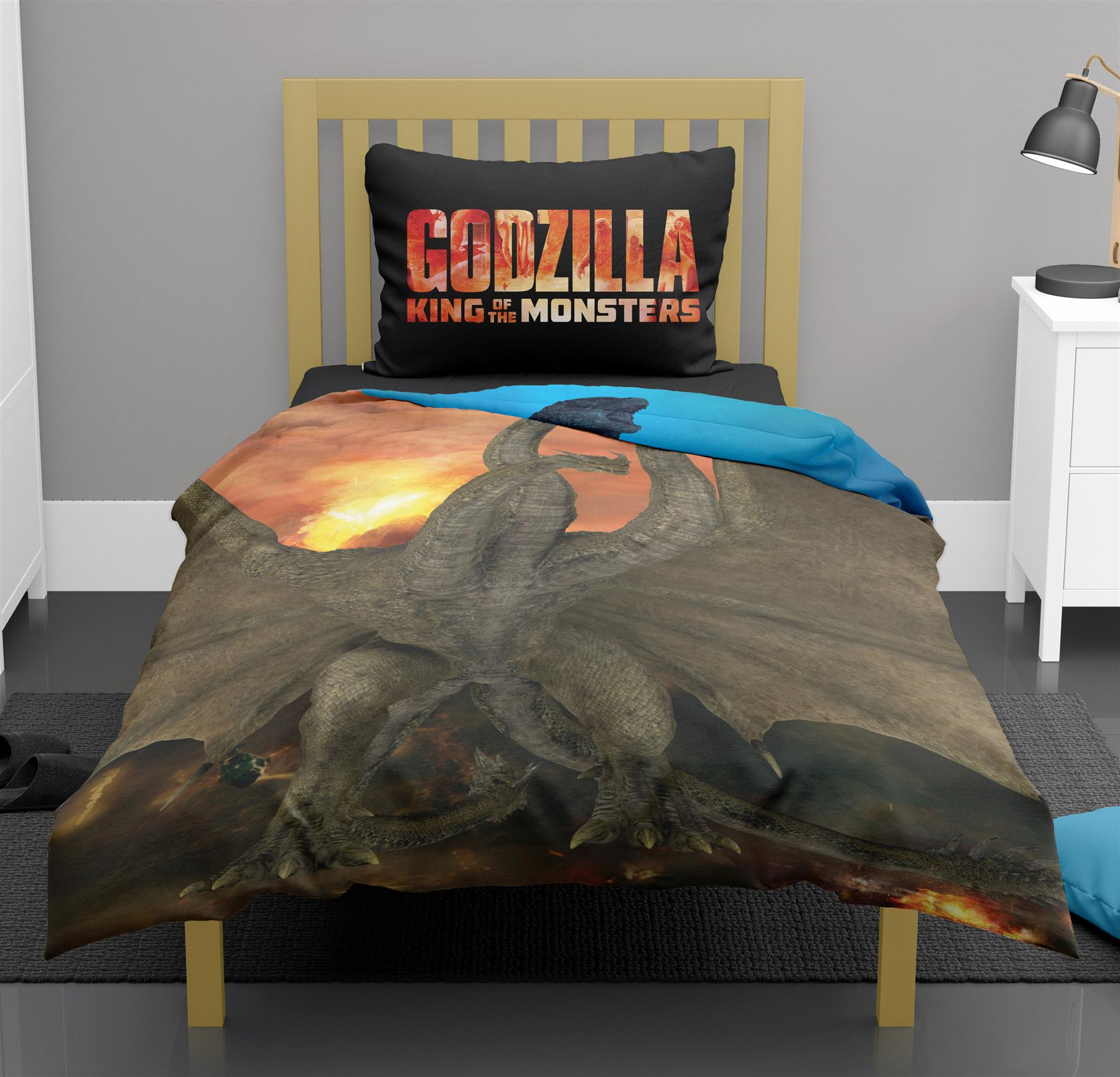Godzilla-King-of-Monsters-Single-Double-Duvet-Cover-Reversible-Bedding-Set thumbnail 8