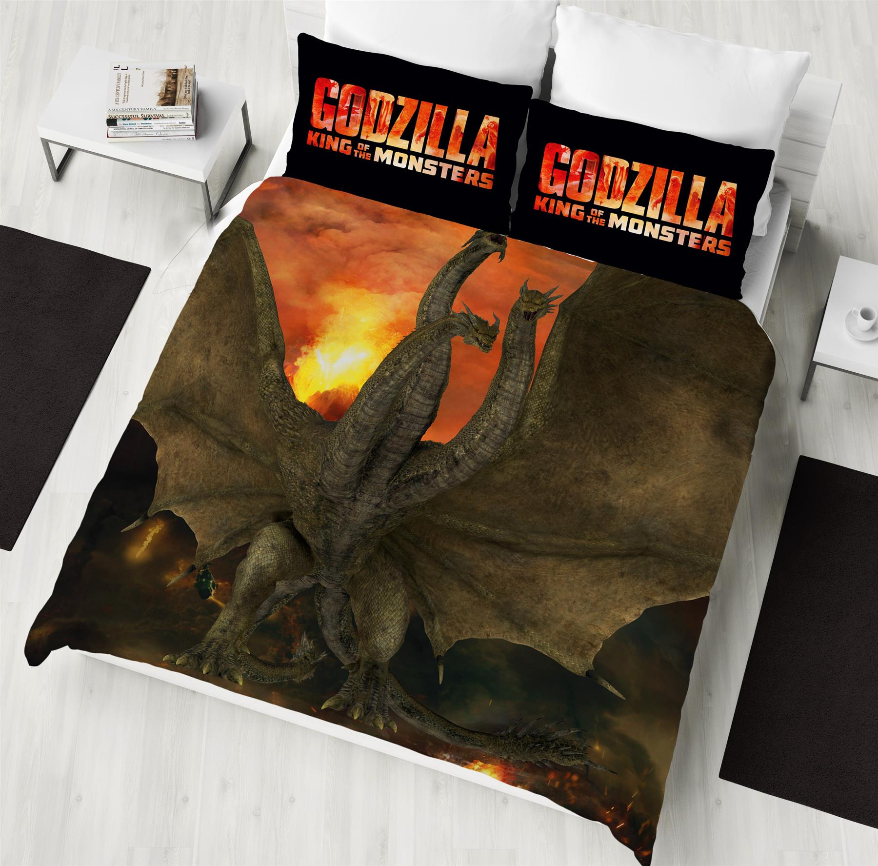 Godzilla-King-of-Monsters-Single-Double-Duvet-Cover-Reversible-Bedding-Set thumbnail 3