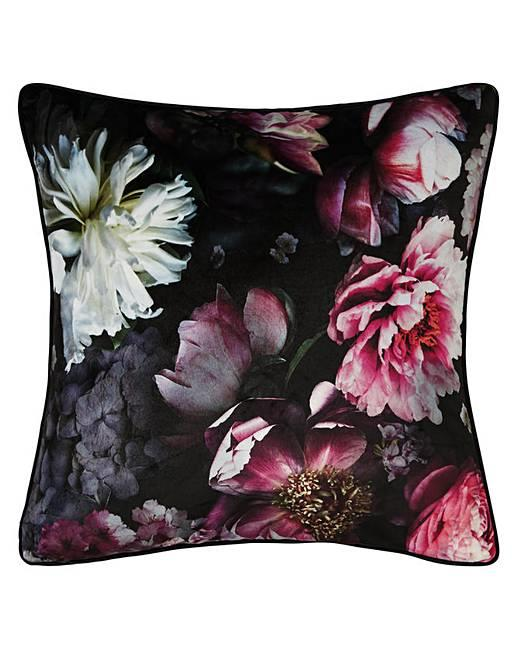 Arthouse-Luxury-Foil-Velvet-Cushions-Peacock-Floral-45x45cm-Filled-amp-Reversible thumbnail 5