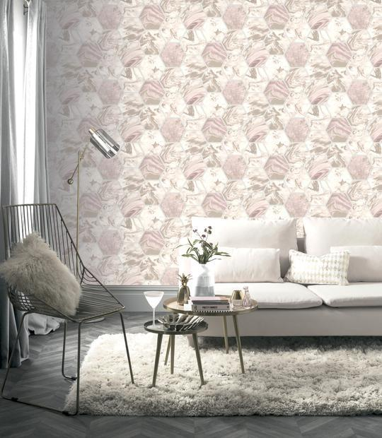 Arthouse-Marbled-Hex-Metallic-Geometric-Wallpaper-2-Colours-10m-Rolls thumbnail 6
