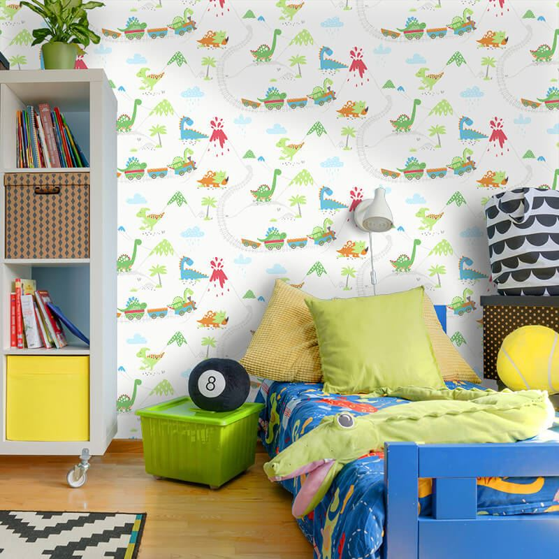 Kids-Nursery-Fun-Dinosaur-wallpaper-Dino-Town-Doodles-Dictionary-Road thumbnail 20