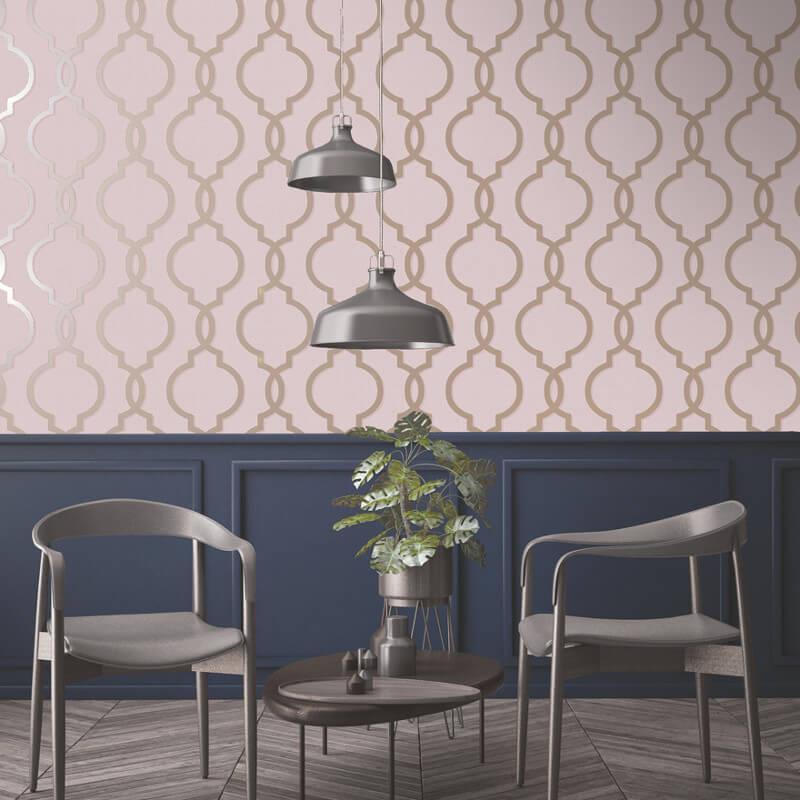 Geometric-Wallpaper-Metallic-Smooth-Textured-Apex-Triangles-Trellis-Diamonds thumbnail 72