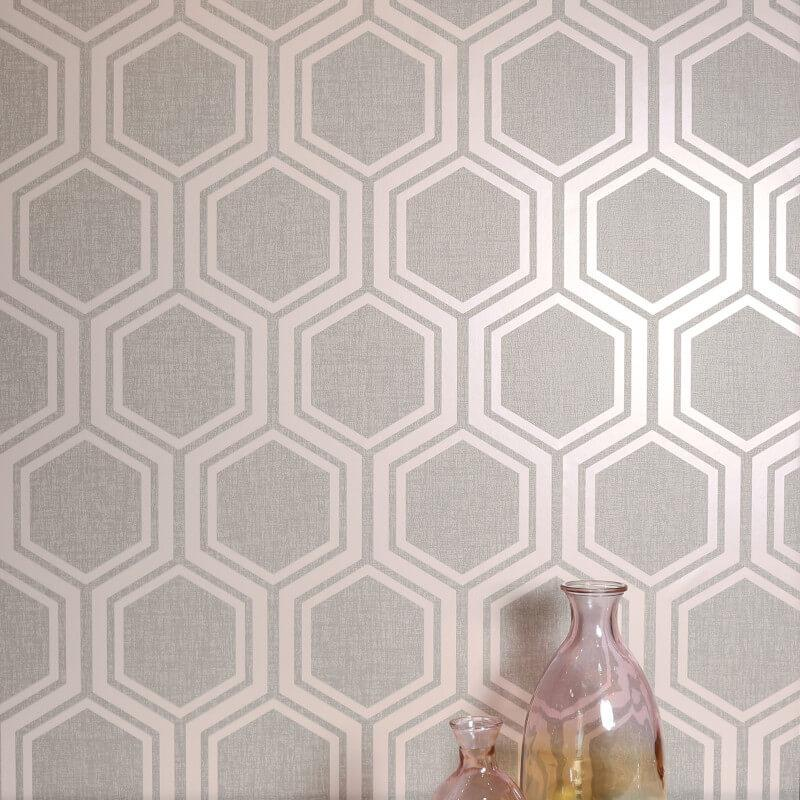 Arthouse-Luxe-Damask-Hexagan-Ogee-Geo-Metallic-Wallpaper-3-Colours thumbnail 9