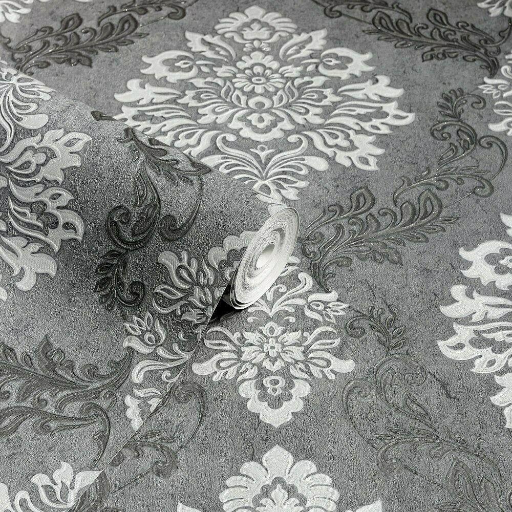 thumbnail 3 - Arthouse Palazzo Range Damask & Stripe Glitter Textured Wallpaper 10m Rolls