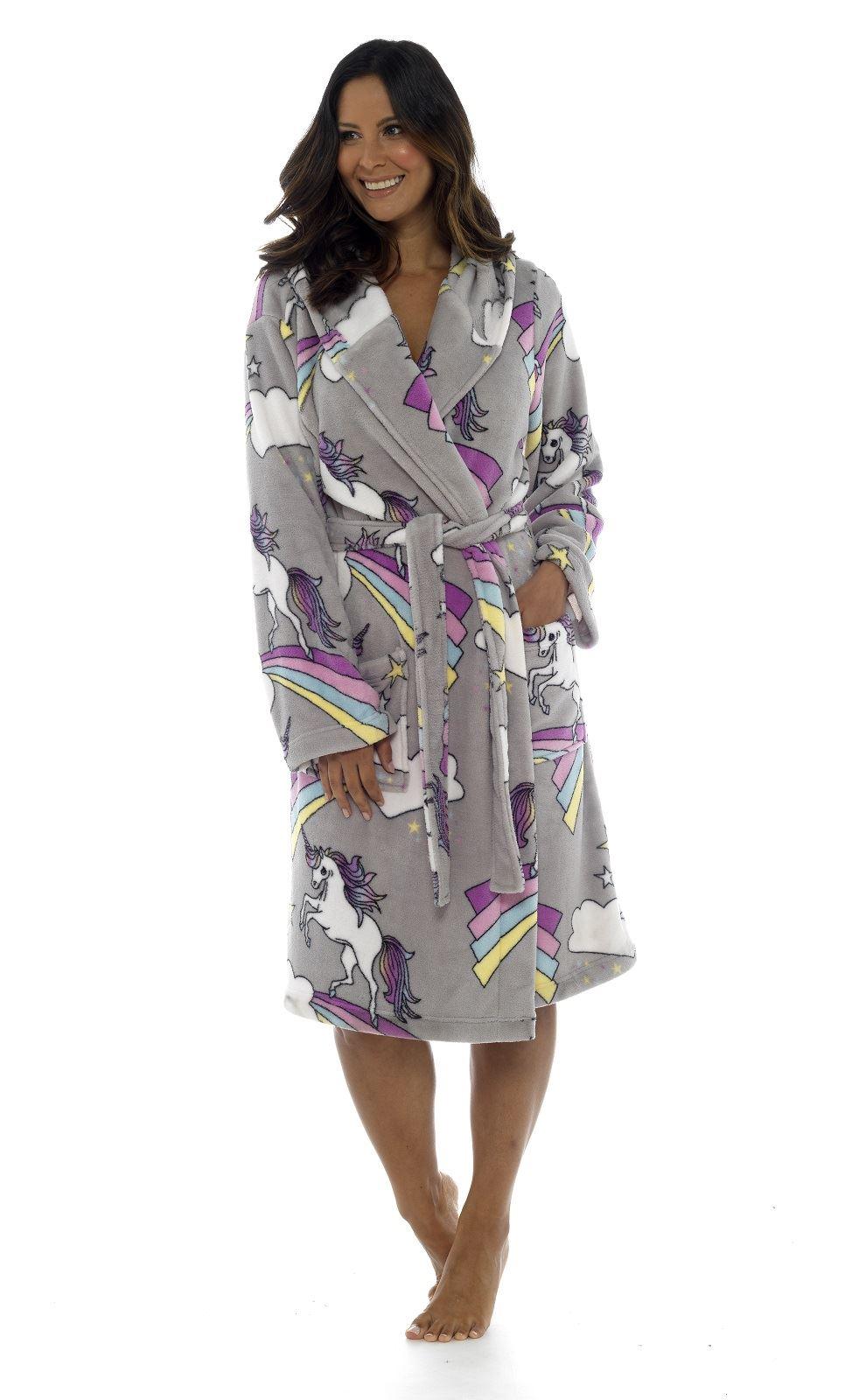 Ladies Girls Mum//Daughter Matching Unicorn Grey Dressing Gown Mother//Daughter Matching Mini Me Supersoft Fleece