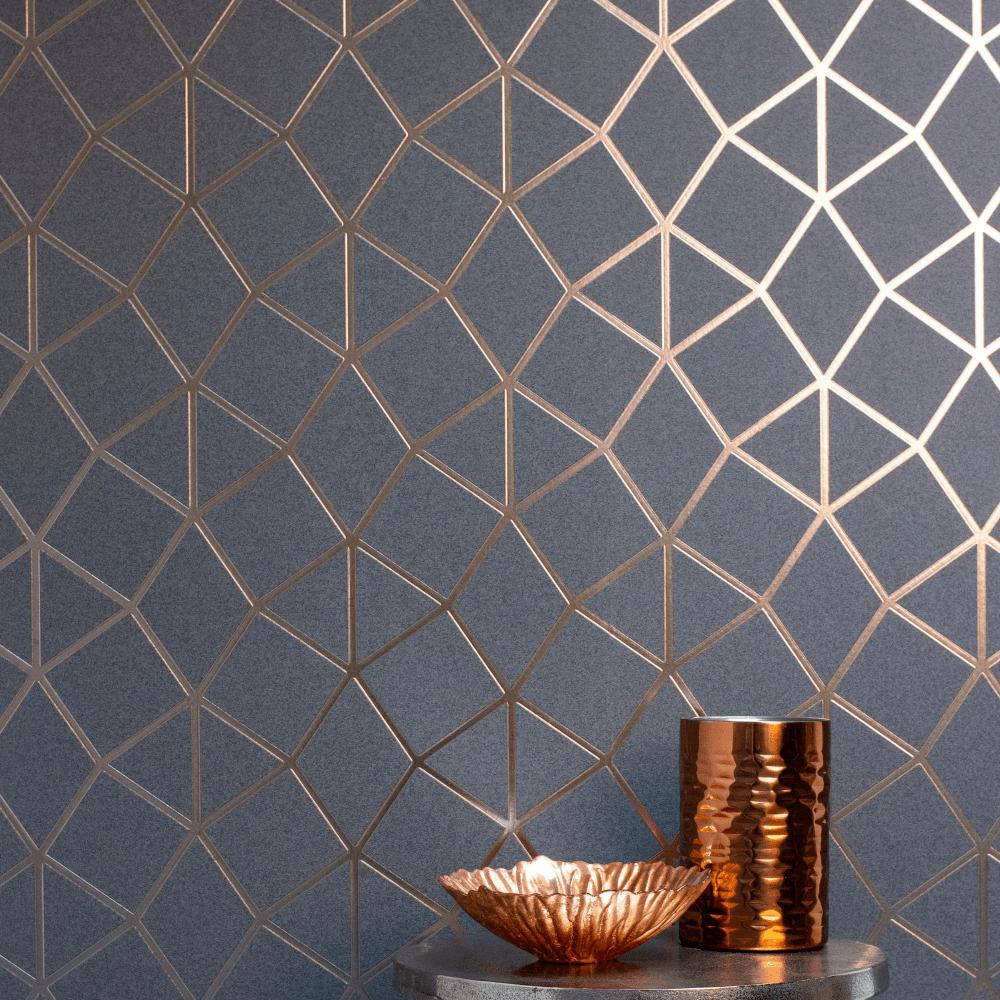 Geometric-Wallpaper-Metallic-Smooth-Textured-Apex-Triangles-Trellis-Diamonds thumbnail 31
