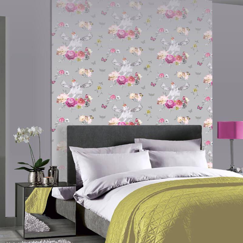 Arthouse-Anastasia-Metallic-Unicorn-Glitter-Floral-10m-Wallpaper-2-Colours thumbnail 5