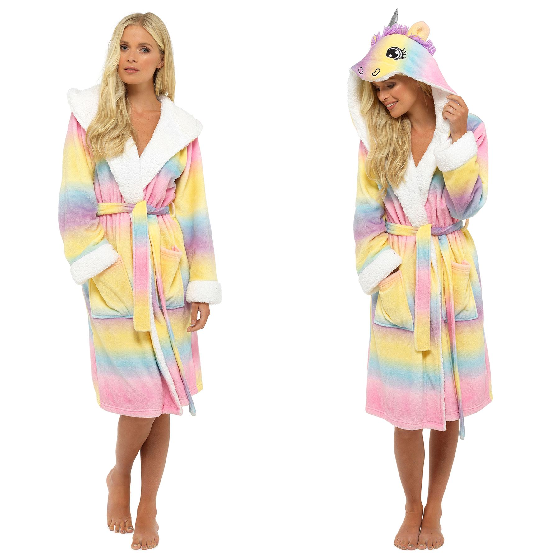 Ladies-Girls-Mum-Daughter-Matching-Unicorn-Onesee-Dressing-Gown-Rainbow-Fleece