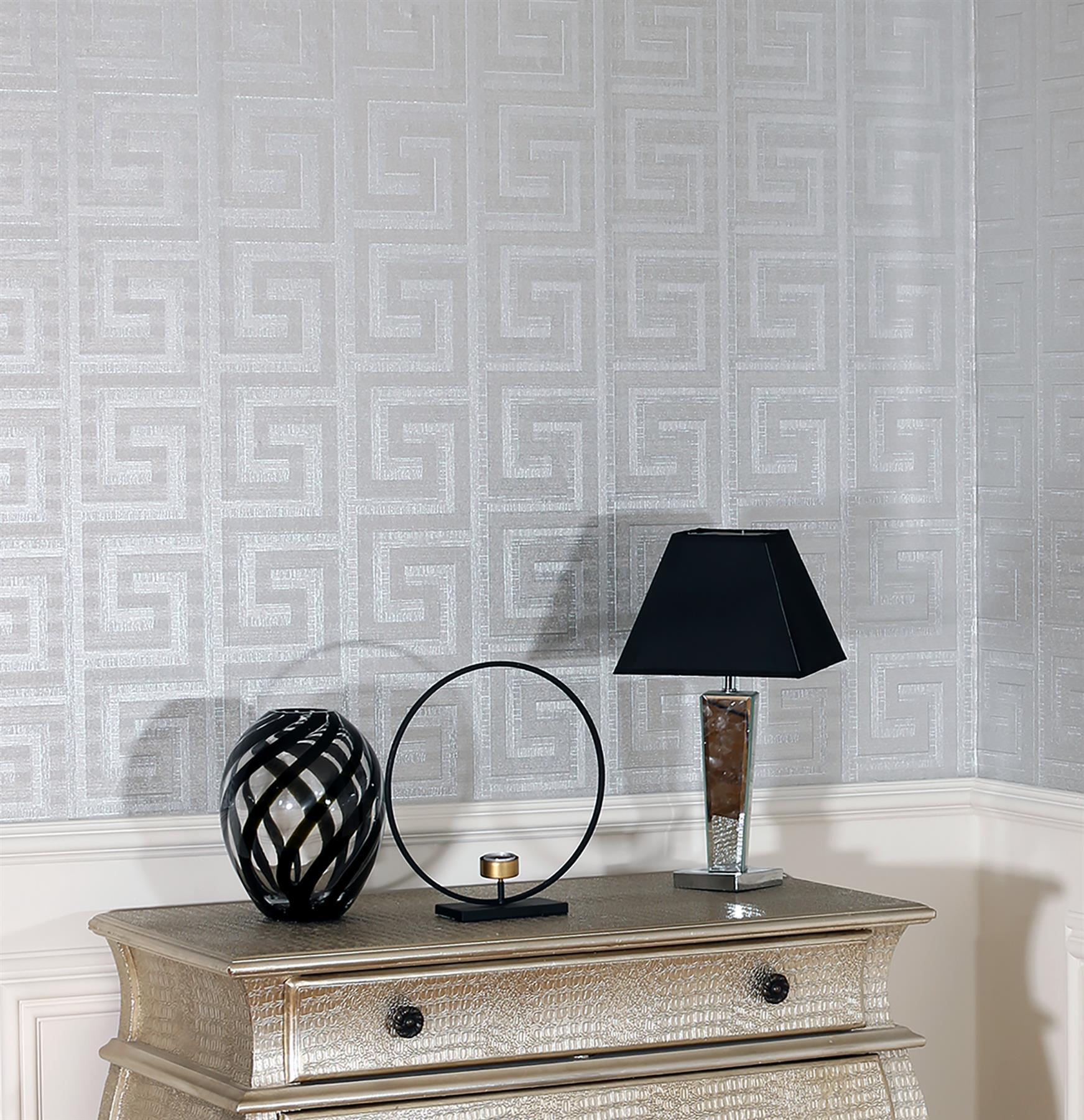 Arthouse-Greek-Key-Luxury-Foil-Shimmer-Metallic-Textured-Wallpaper thumbnail 7