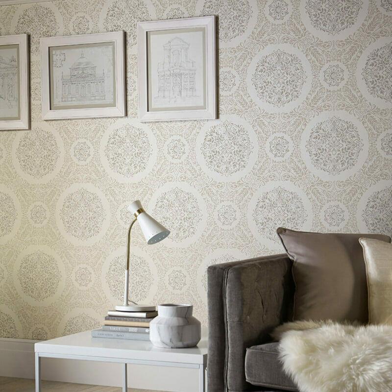 Arthouse-Timour-Damask-Pattern-Floral-Motif-Metallic-Glitter-Wallpaper-2-Colours thumbnail 3
