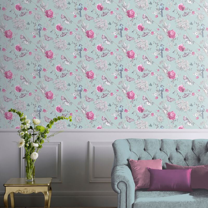 thumbnail 7 - Arthouse-Paradise-Garden-Butterflies-Floral-Glitter-10m-Wallpaper-5-Colours