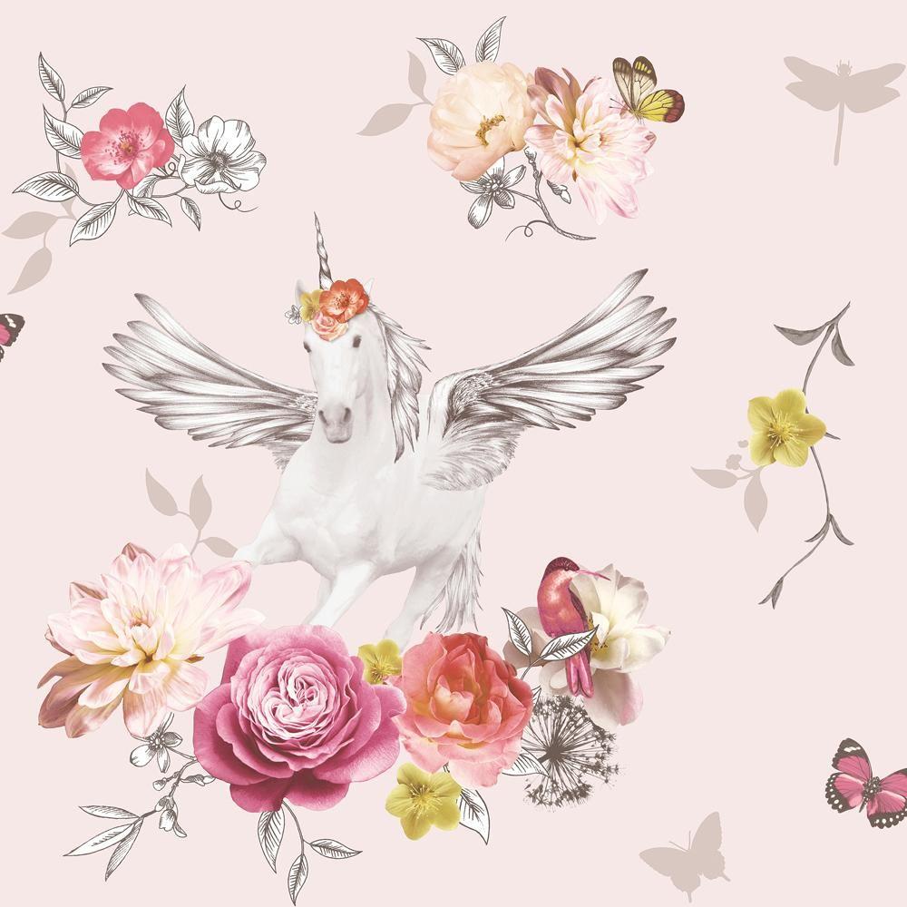 Arthouse-Anastasia-Metallic-Unicorn-Glitter-Floral-10m-Wallpaper-2-Colours thumbnail 3