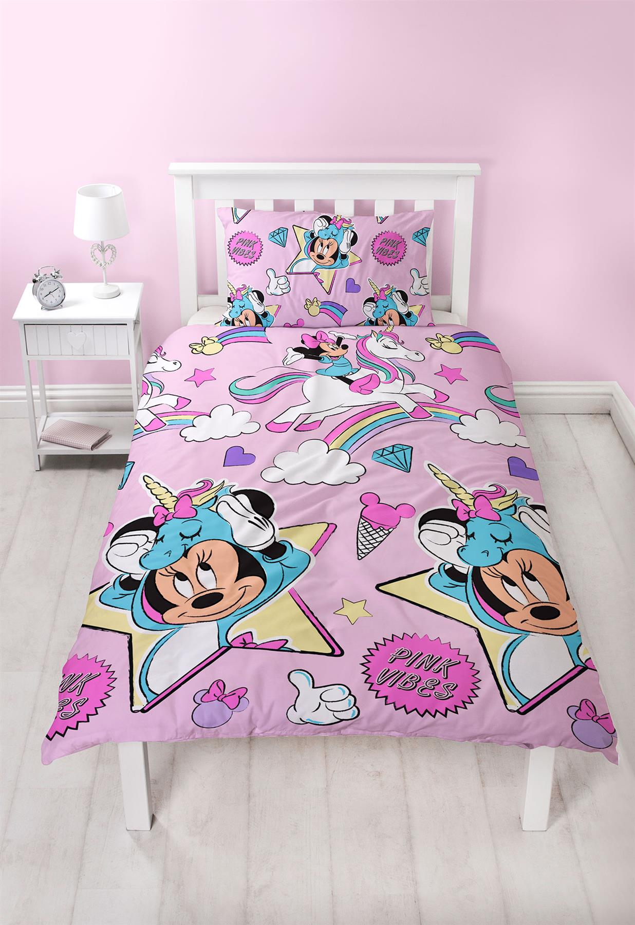 Disney-Mickey-Minnie-mouse-fundas-nordicas-SINGLE-doble-Ropa-De-Cama-Reversible miniatura 47