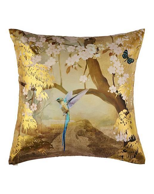 Arthouse-Luxury-Foil-Velvet-Cushions-Peacock-Floral-45x45cm-Filled-amp-Reversible thumbnail 7