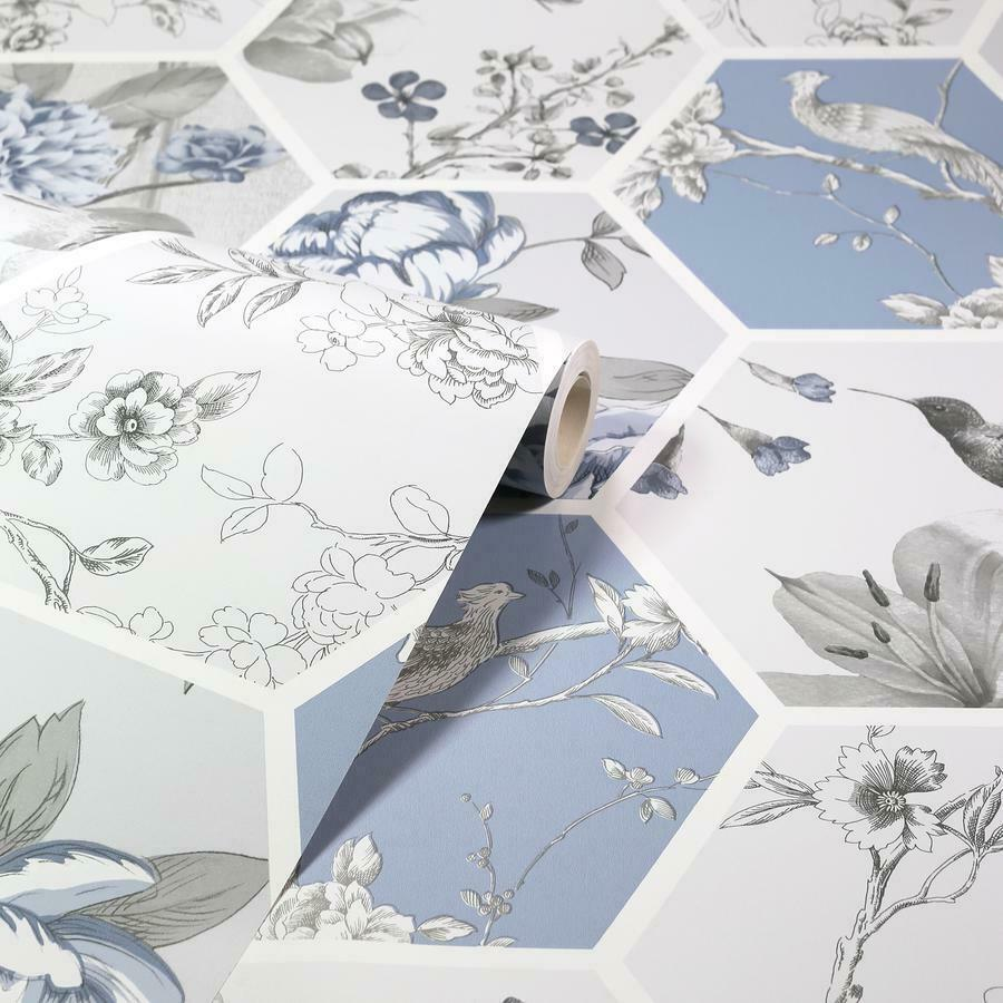 Arthouse-Chinoise-Decoupage-Birds-Floral-Patchwork-Wallpaper-10m-Rolls thumbnail 4