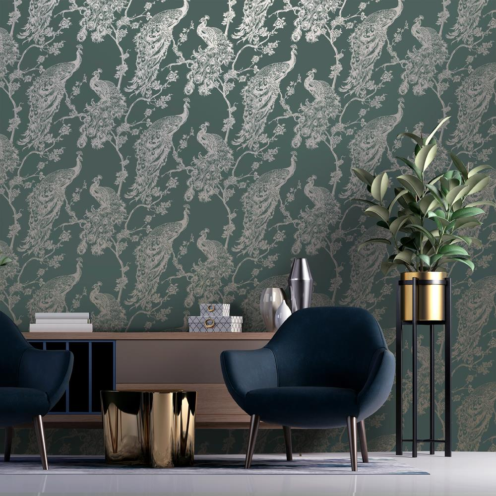 thumbnail 3 - Holden Decor Glistening Peacock Floral Leaf Trail Metallic Wallpaper 4 Colours