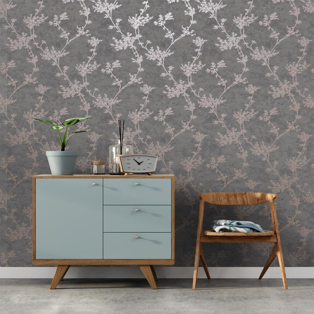 thumbnail 3 - Holden Decor Chevril Shinny Floral Trail Textured Wallpaper 3 Colours