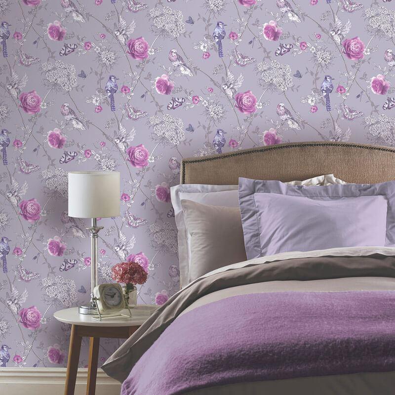 thumbnail 3 - Arthouse-Paradise-Garden-Butterflies-Floral-Glitter-10m-Wallpaper-5-Colours